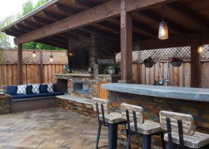 Outdoor Kitchen Area with gorgeous stone work